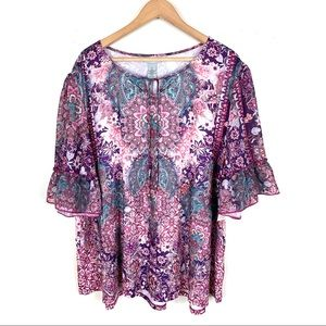 Catherines Blouse Top Paisley Purple Pink Size 3X